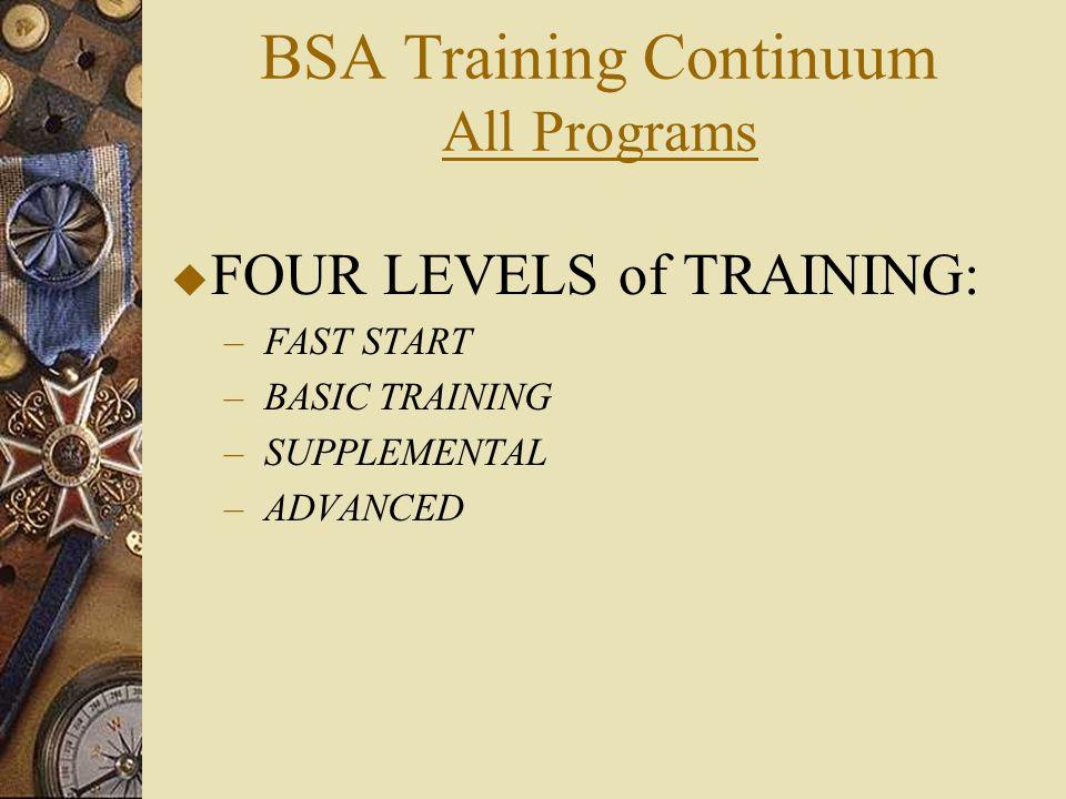BSA Training Continuum All Programs