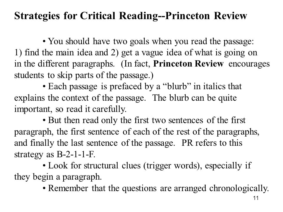 Strategies for Critical Reading--Princeton Review