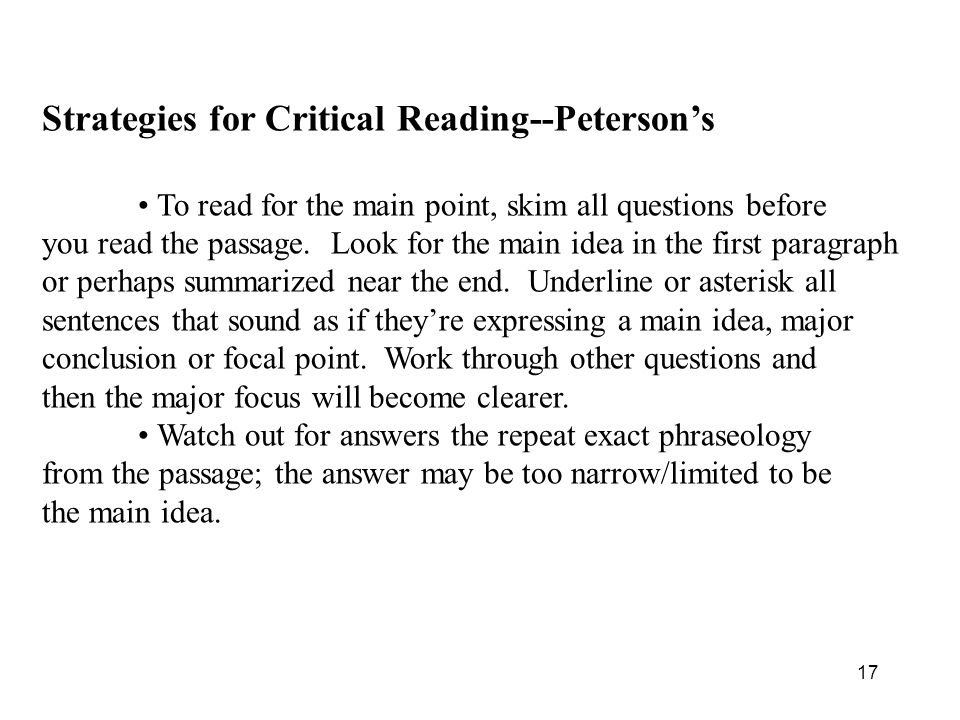 Strategies for Critical Reading--Peterson's