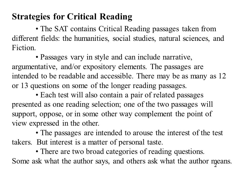 Strategies for Critical Reading