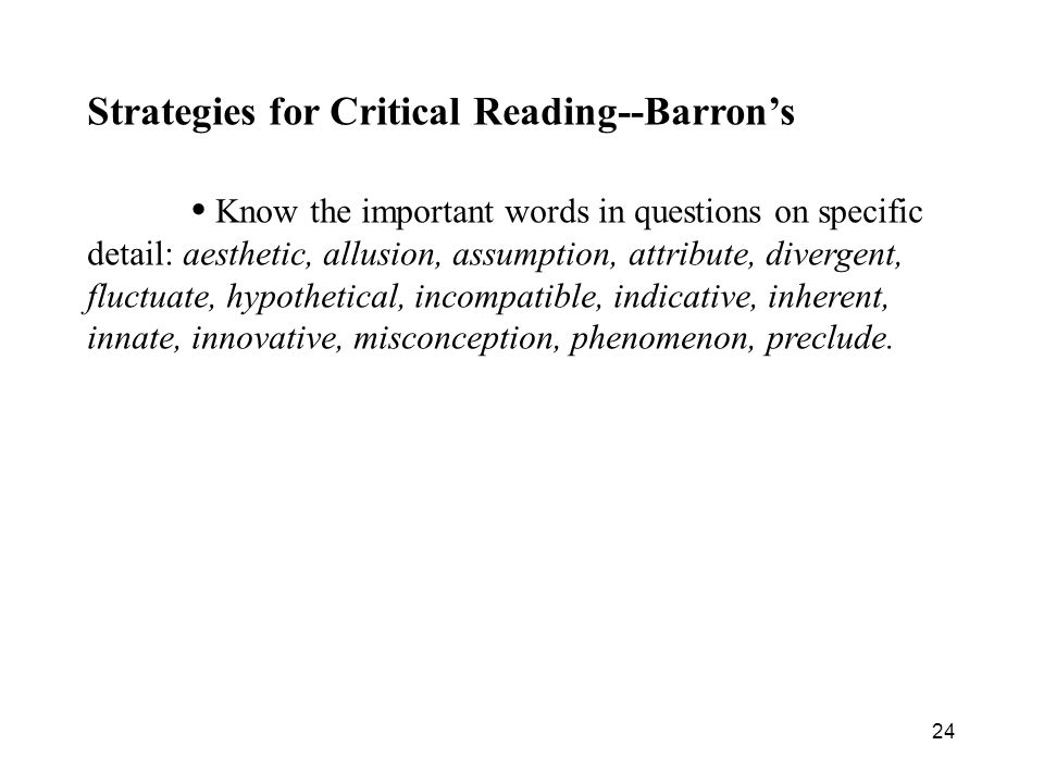 Strategies for Critical Reading--Barron's