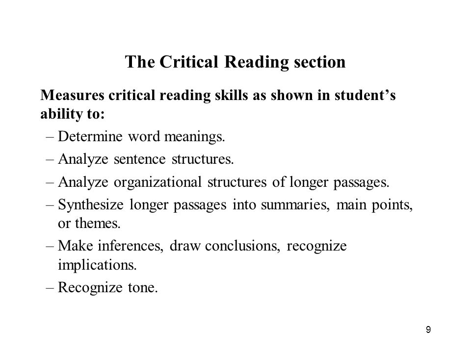 The Critical Reading section