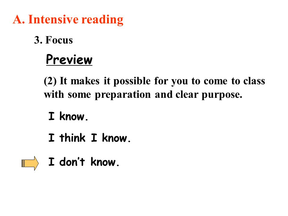 A. Intensive reading Preview 3. Focus