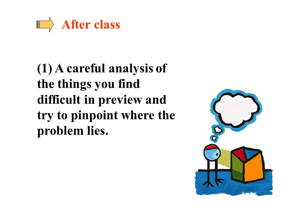 After class (1) A careful analysis of the things you find difficult in preview and try to pinpoint where the problem lies.
