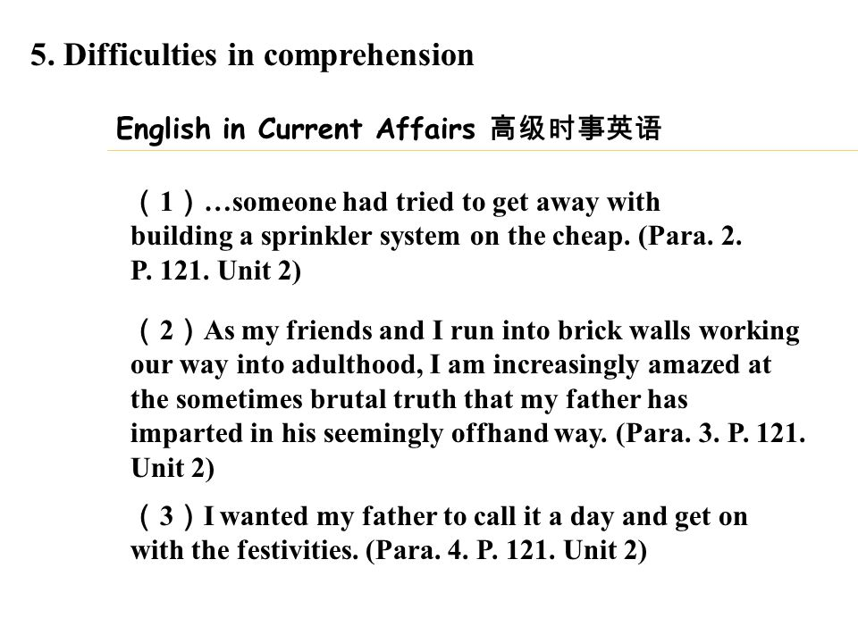 5. Difficulties in comprehension