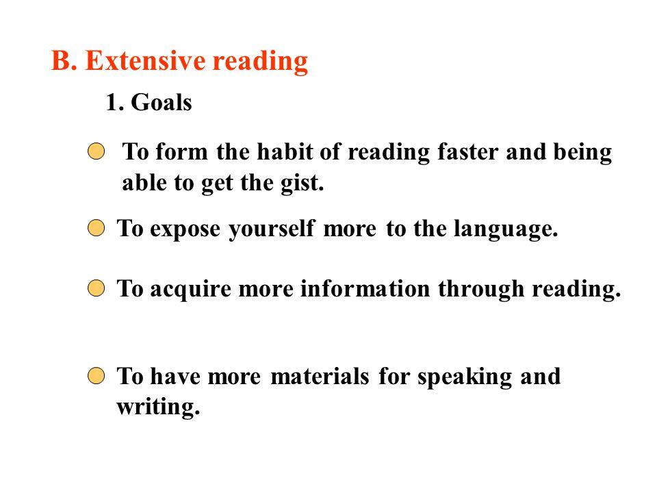 B. Extensive reading 1. Goals