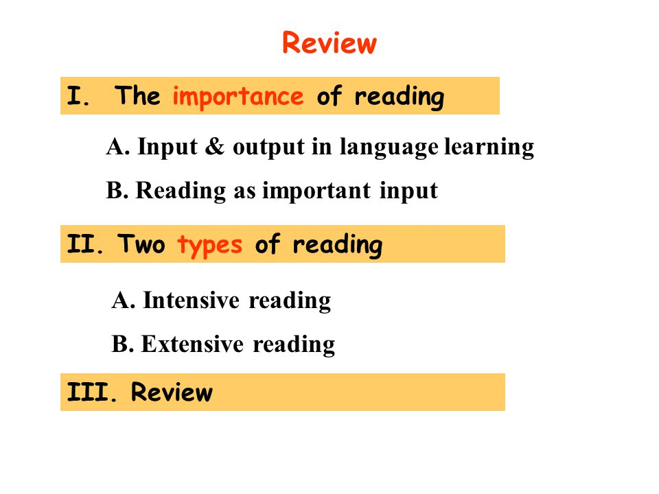 Review I. The importance of reading