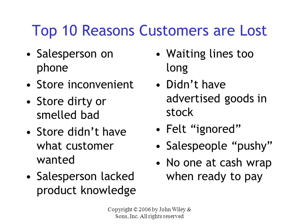 Top 10 Reasons Customers are Lost