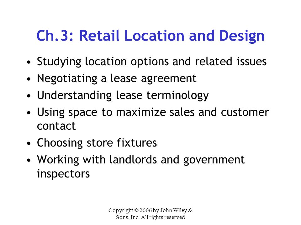 Ch.3: Retail Location and Design