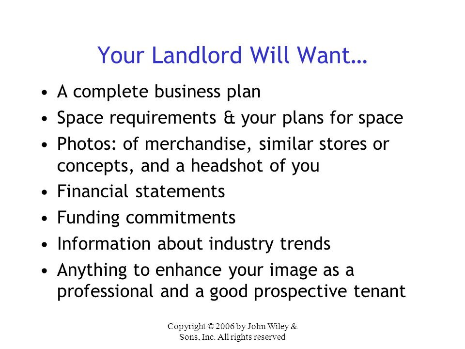 Your Landlord Will Want…