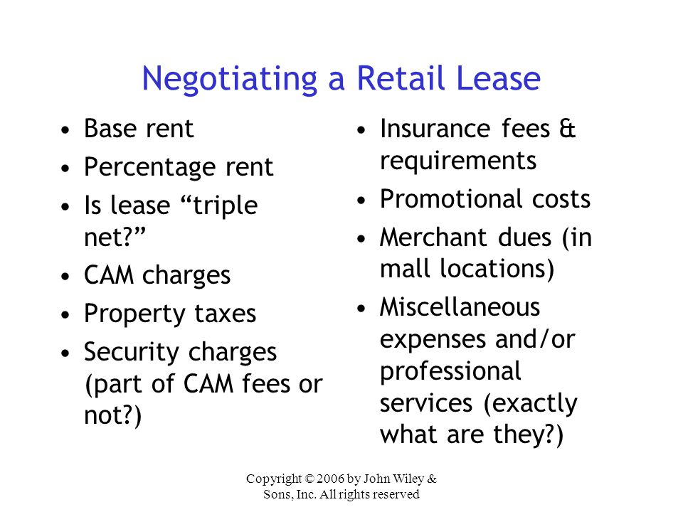Negotiating a Retail Lease