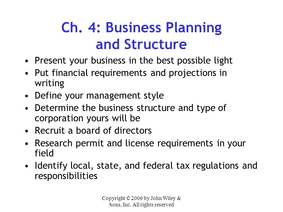 Ch. 4: Business Planning and Structure