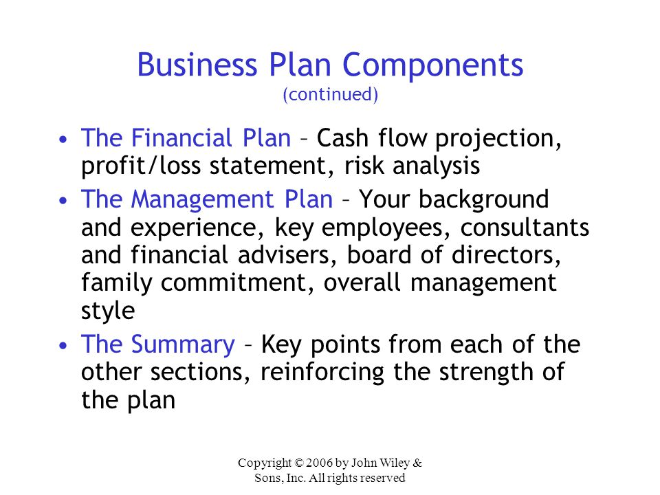 Business Plan Components (continued)