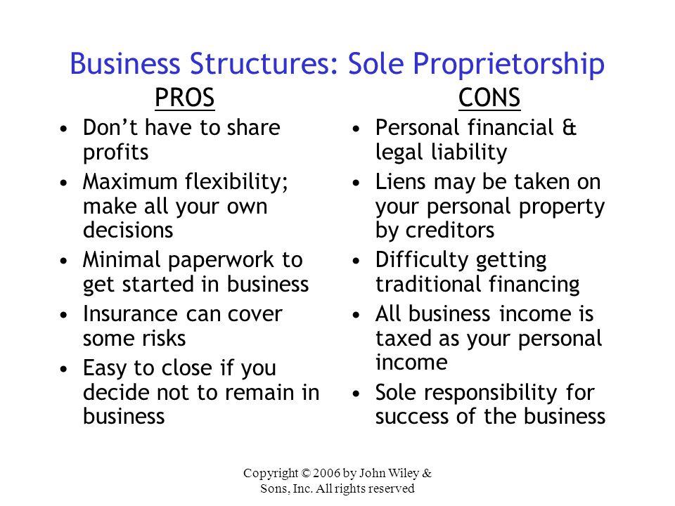 Business Structures: Sole Proprietorship PROS CONS