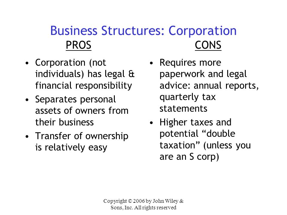 Business Structures: Corporation PROS CONS