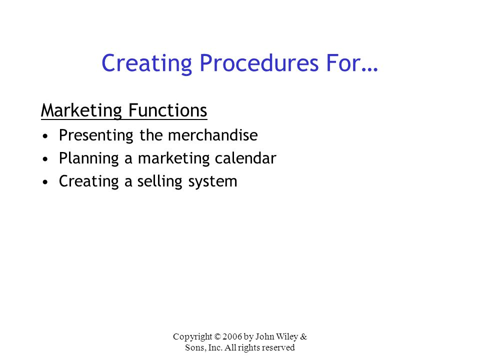 Creating Procedures For…