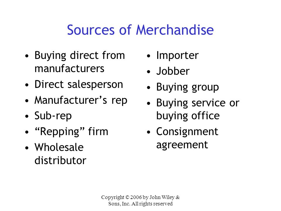 Sources of Merchandise