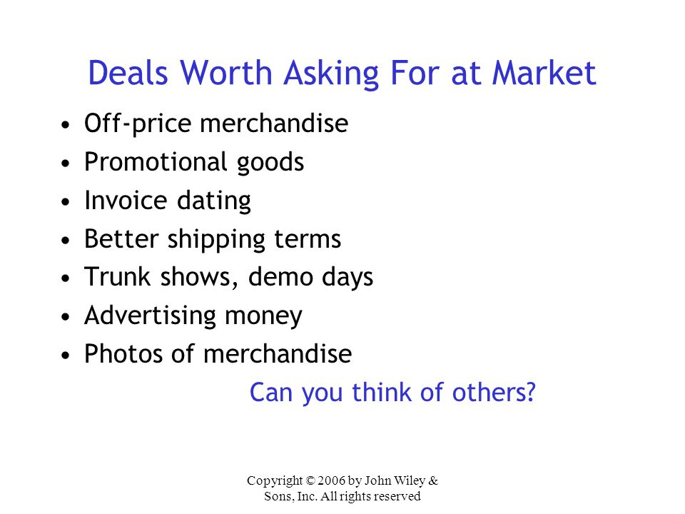 Deals Worth Asking For at Market