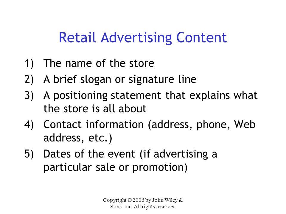 Retail Advertising Content