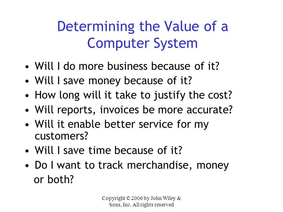 Determining the Value of a Computer System