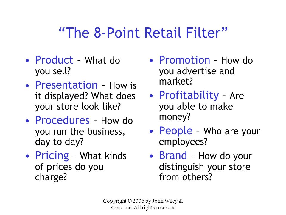 The 8-Point Retail Filter