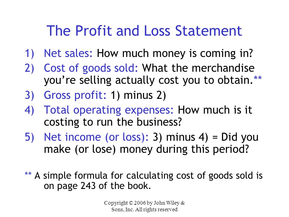 The Profit and Loss Statement