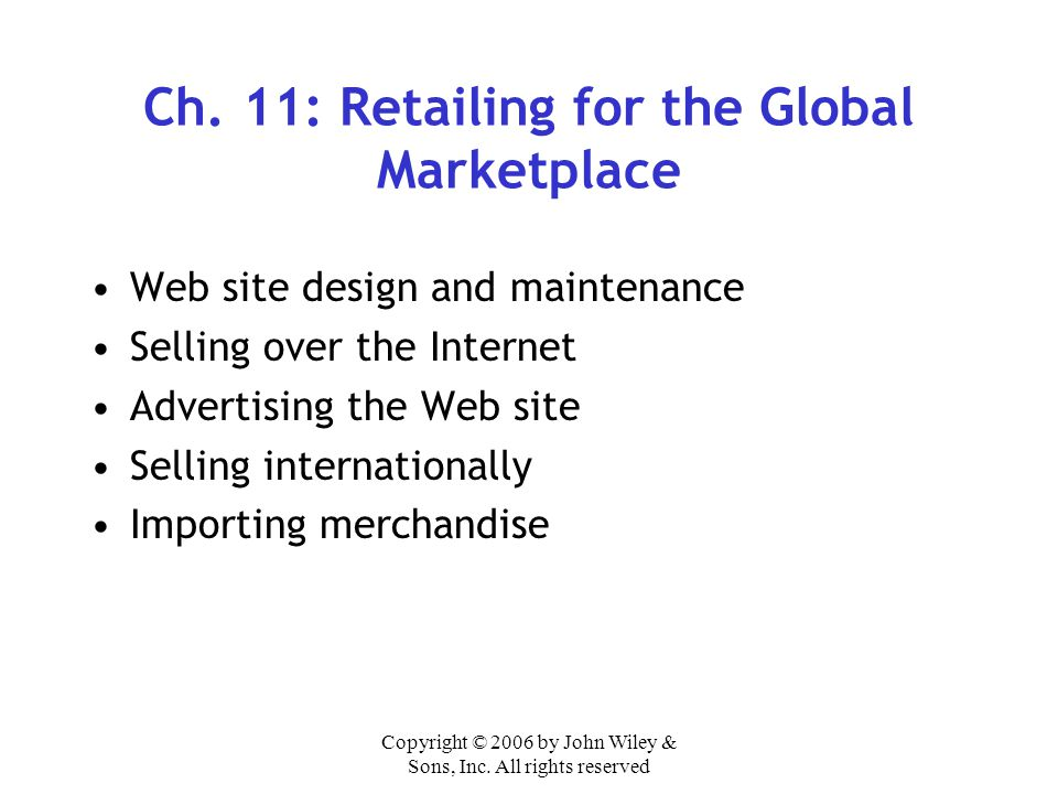 Ch. 11: Retailing for the Global Marketplace