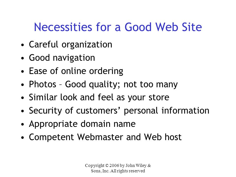 Necessities for a Good Web Site