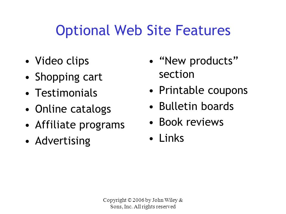 Optional Web Site Features