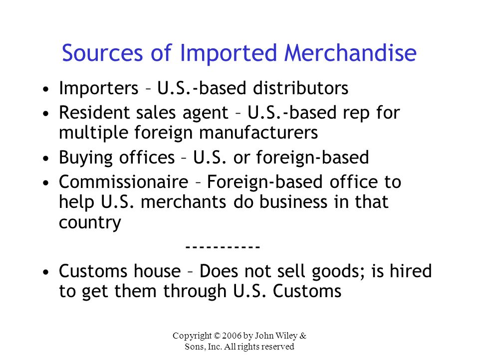 Sources of Imported Merchandise