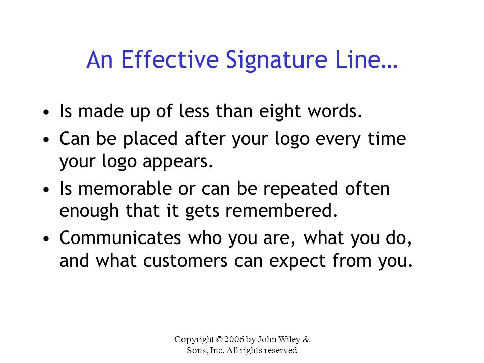 An Effective Signature Line…