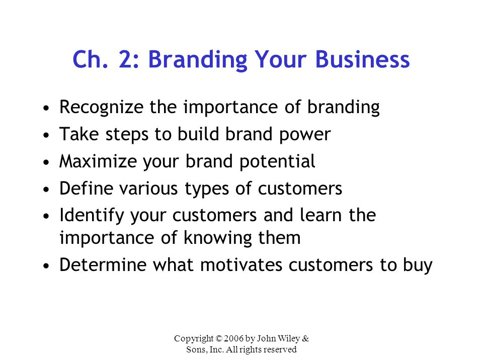 Ch. 2: Branding Your Business
