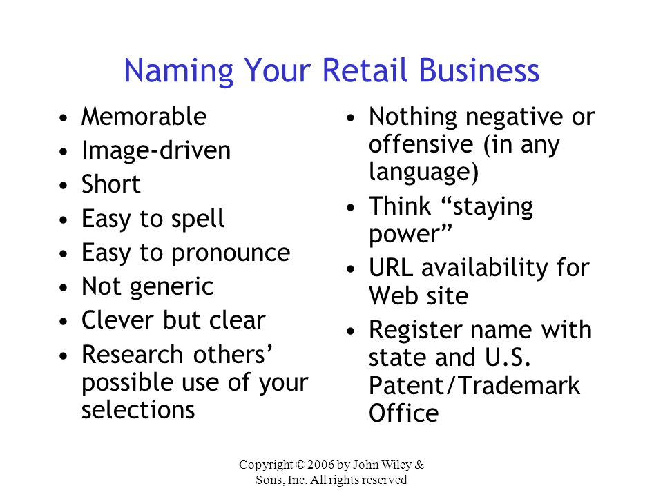 Naming Your Retail Business