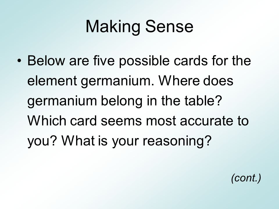 Making Sense