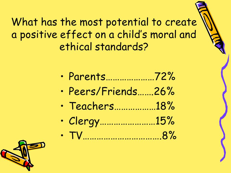What has the most potential to create a positive effect on a child's moral and ethical standards