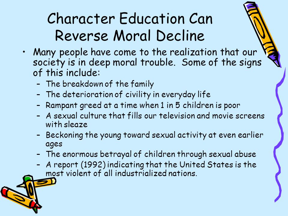 moral decline in society is due Debate others about the issue of morality and whether or not it is on the decline in today's society let your voice be heard.