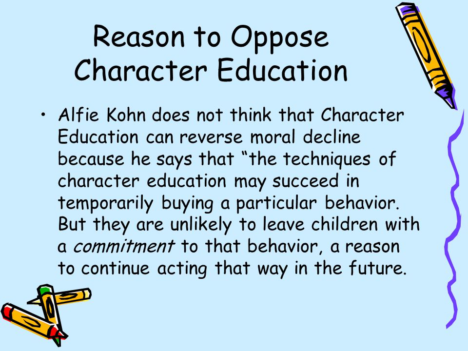 Reason to Oppose Character Education