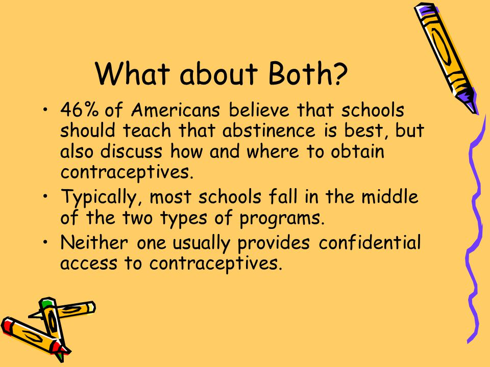 What about Both 46% of Americans believe that schools should teach that abstinence is best, but also discuss how and where to obtain contraceptives.