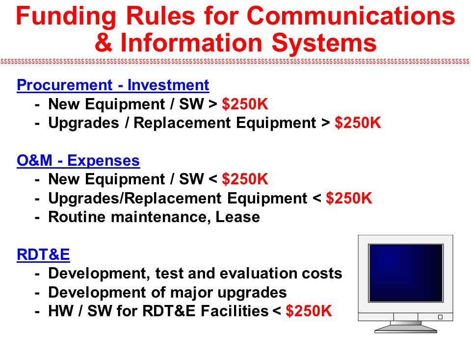 Funding Rules for Communications & Information Systems