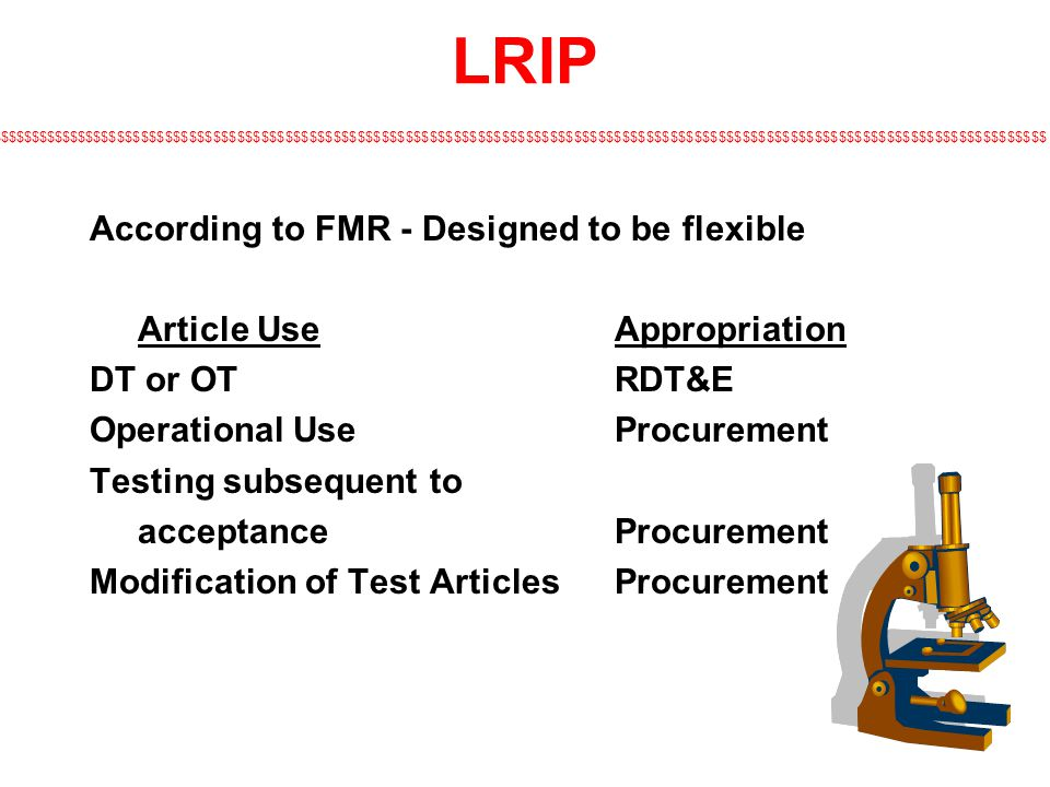 LRIP According to FMR - Designed to be flexible