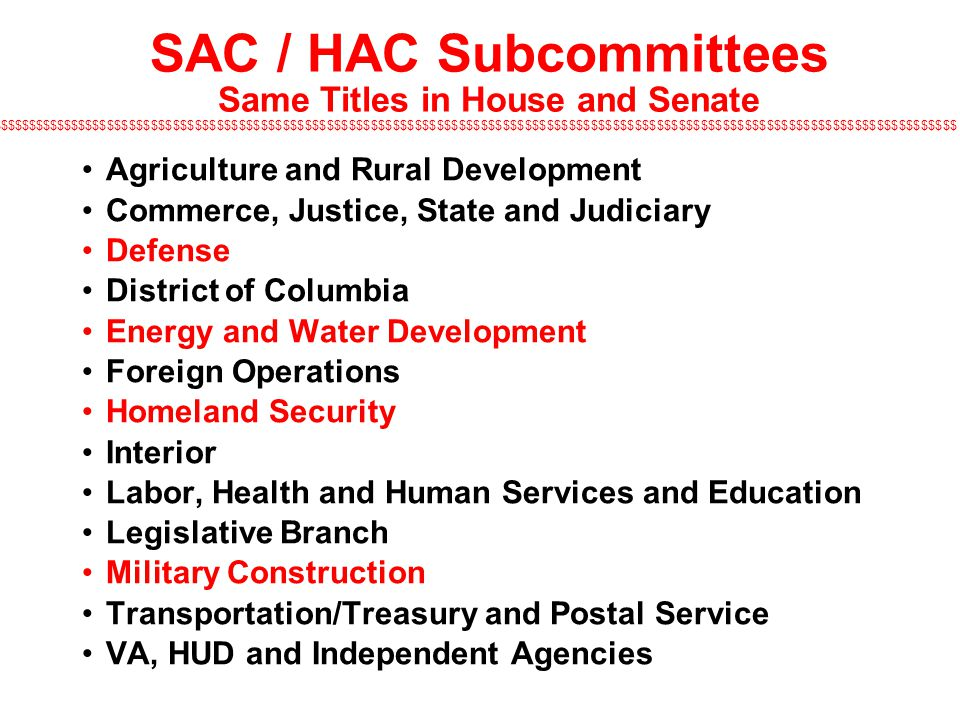 SAC / HAC Subcommittees Same Titles in House and Senate