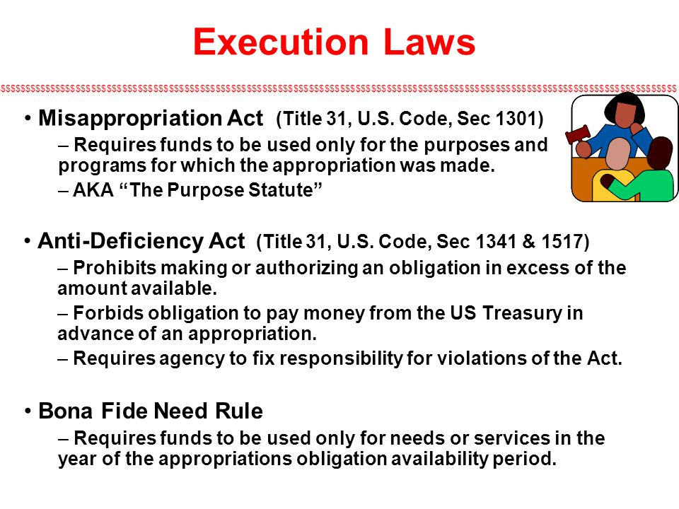 Execution Laws Misappropriation Act (Title 31, U.S. Code, Sec 1301)