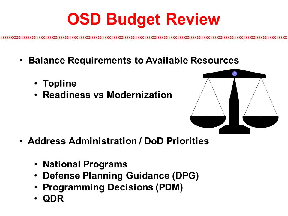 OSD Budget Review Balance Requirements to Available Resources Topline