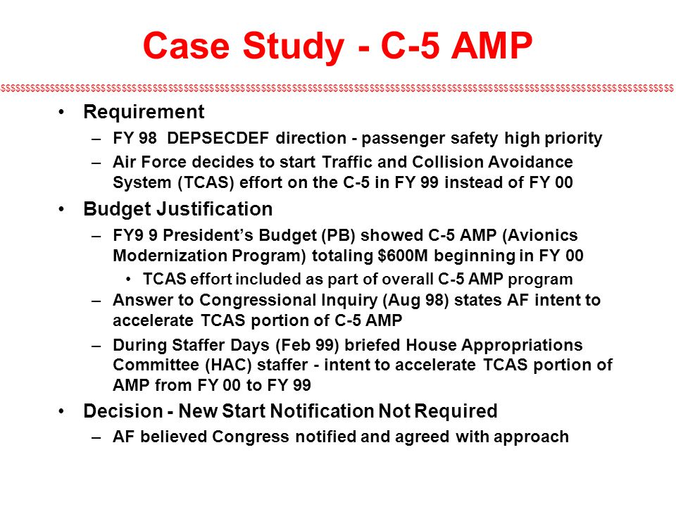 Case Study - C-5 AMP Requirement Budget Justification