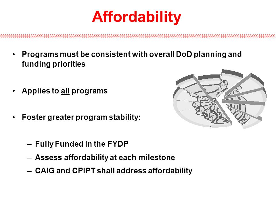 Affordability Programs must be consistent with overall DoD planning and funding priorities. Applies to all programs.