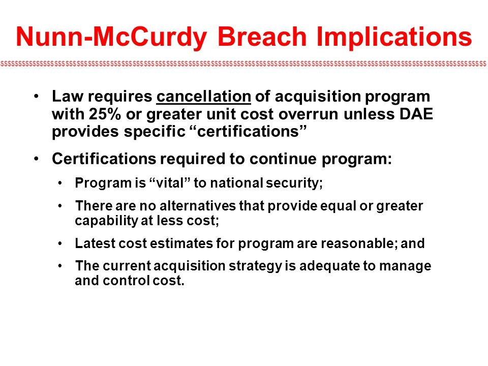 Nunn-McCurdy Breach Implications