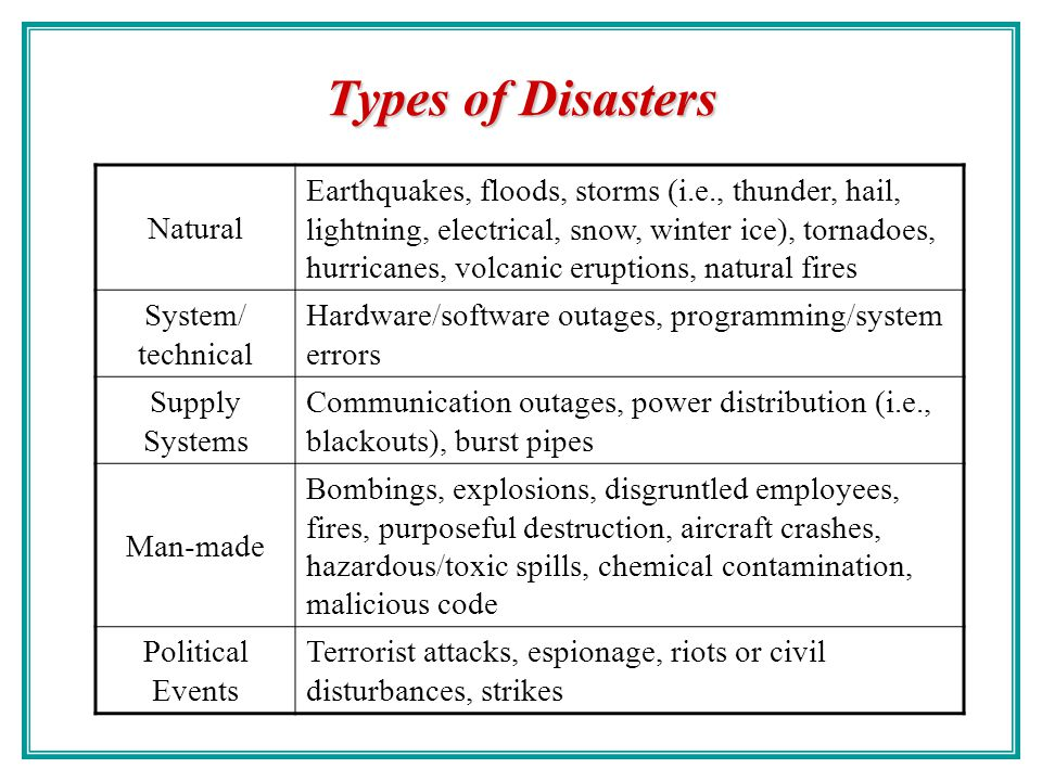 Types of Disasters Natural