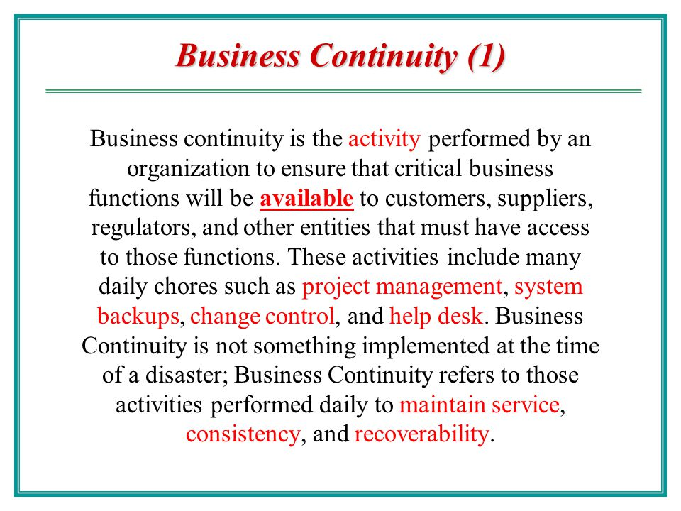 Business Continuity (1)