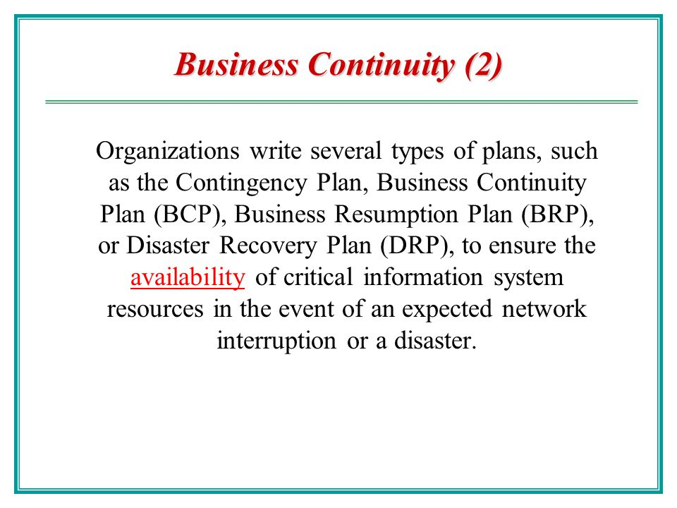 Business Continuity (2)