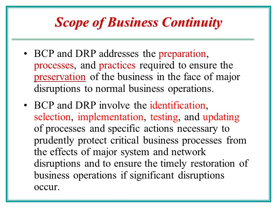 Scope of Business Continuity